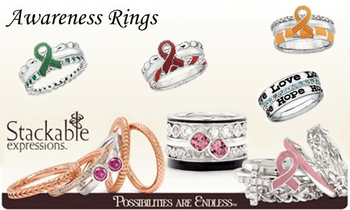 silver ribbon awareness rings