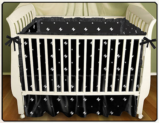 Skull and Crossbones Print Baby Bedding - Rocker Baby Bedding by Sin in Linen :  crib bumper baby blanket sin in linen crib skirt
