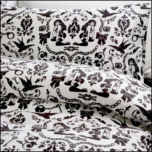 Raven's Dream Duvet Covers -  Sin In Linen :  sheet sets black and white bedding sin in linen bedding