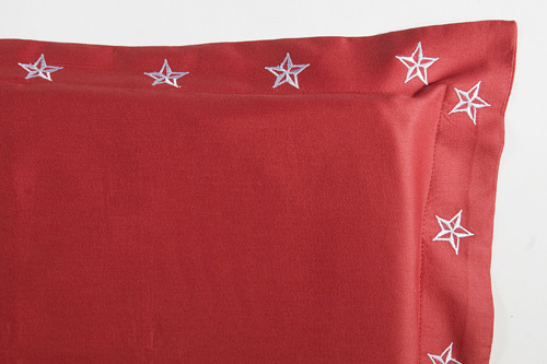 Lucky Stars Shams - Red or Black - Embroidered Bedding by Sin in Linen