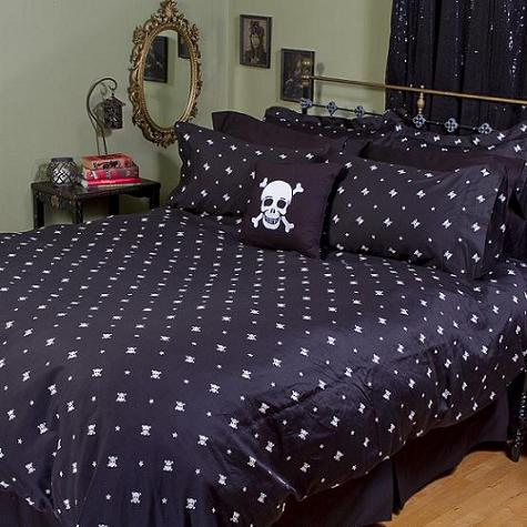 Skull Bedding - Sheet Sets - Black