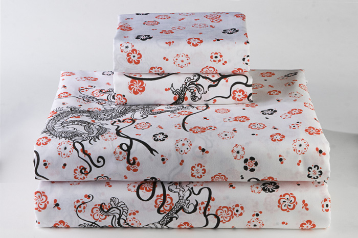 Dragon Print Sheet Sets - Dreamy Linens - Asian Bedding by Sin in Linen