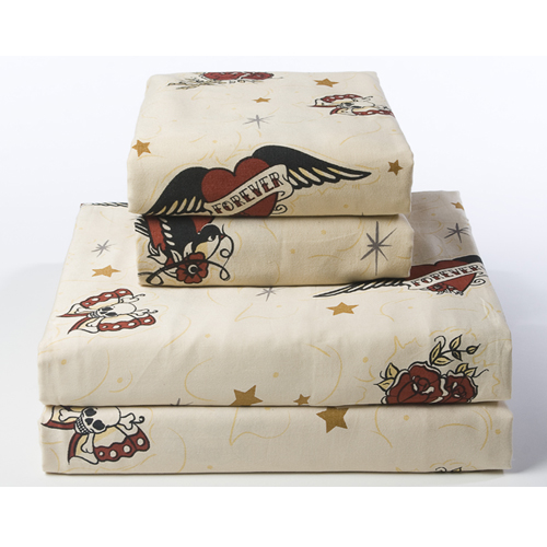 Tan Forever Tattoo Sheet Sets Retro Urban Bedding by Sin in Linen from sininlinen.com