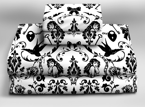 Raven's Dream Sheet Sets  - Sin In Linen :  sheet sets pinup art victorian damask cotton bedding