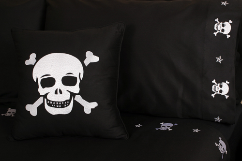 Pirate Bedding - Embroidered Skull Sheet Sets :  tattoo sheets bedding pillowcases pirate