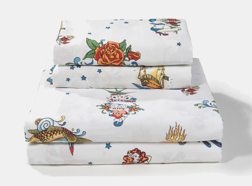 Flash Tattoo Sheet Sets - White - Tattoo Bedding by Sin in Linen