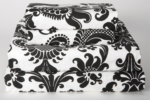 WallFlower Sheet Sets - Graphic Black and White Damask Baroque Print - Rococo Bedding by Sin in Linen :  sheet sets duvet cover bedding bedroom