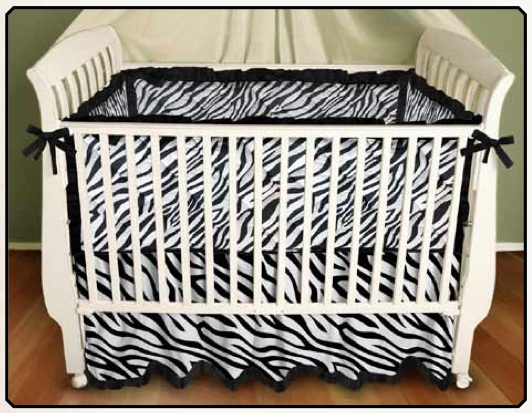 Black and White Stripe Zebra Baby Bedding by Sin in Linen