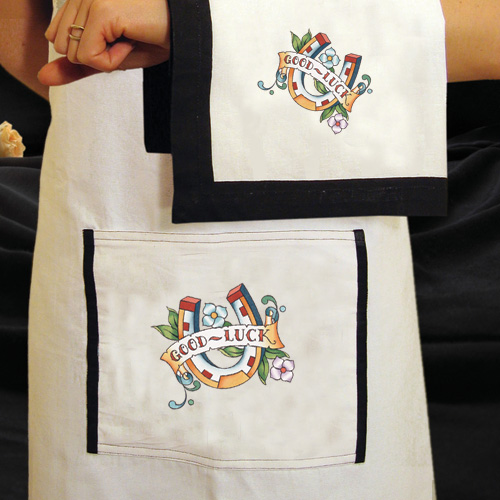 Horseshoe Apron and Dish Towel - Kitchen Linens - Kitchen - Sin In Linen :  luck mermaid knives horse shoe