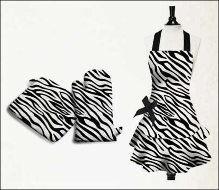 Zebra Stripe Kitchen Linens - Sin In Linen :  zebra stripe zebra apron apron animal print