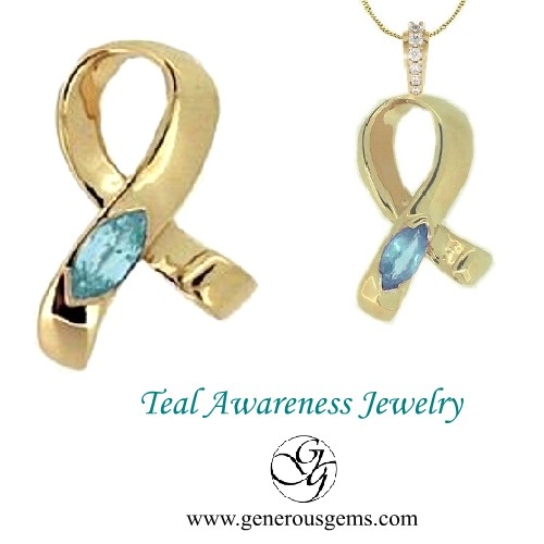Ovarian Cervical Cancer Teal Awareness Ribbon Jewelry