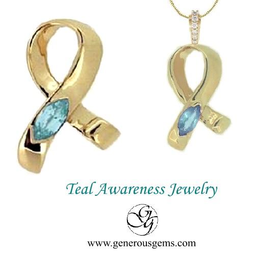 d09eeac2e Ovarian Cervical Cancer Teal Awareness Ribbon Jewelry :: Awareness ...