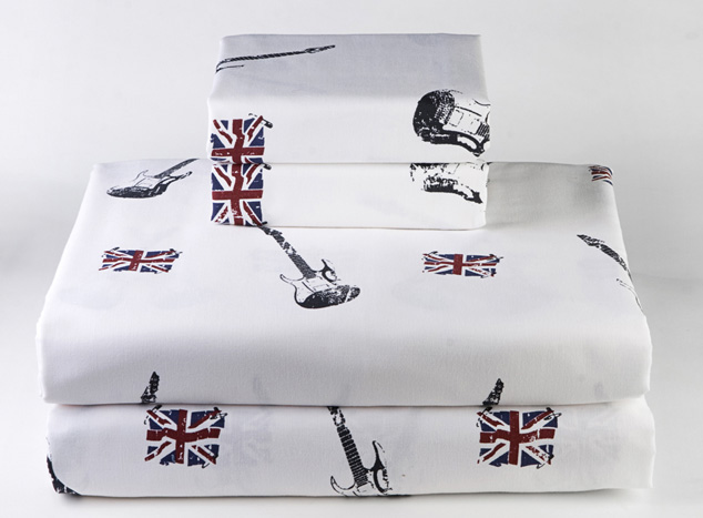 """guitars.  UK.  British Flag. sheets.   """"For those about to rock..."""